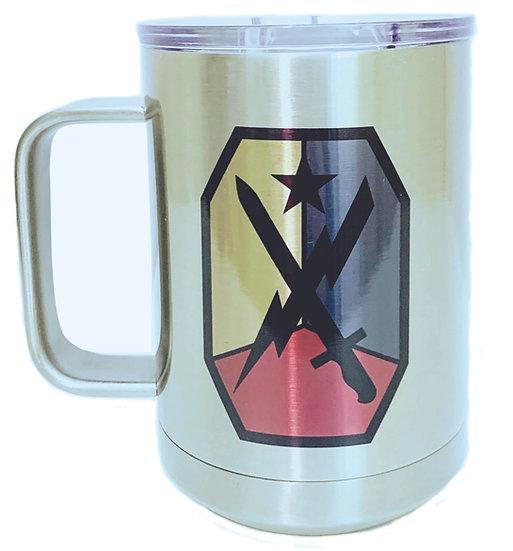 MCOE Sublimatable Stainless Steel 15oz. White Vacuum Insulated Mug w/Slider Lid