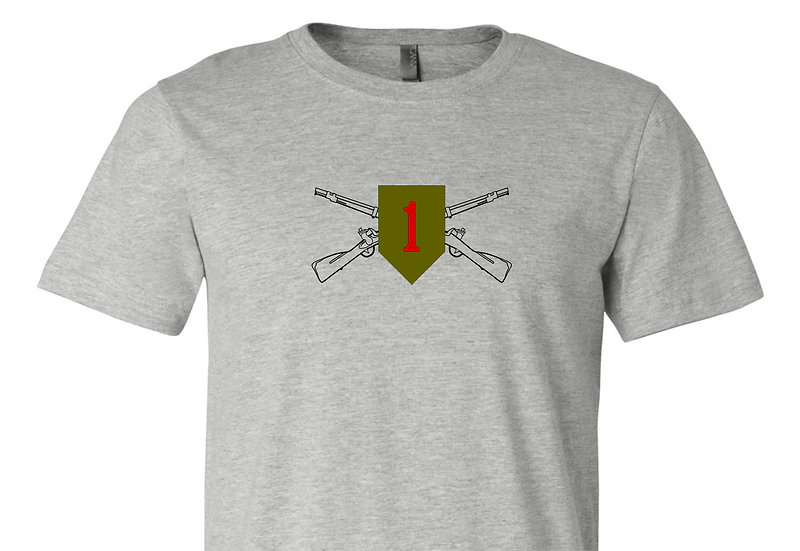 Infantry Rifles with 1st INF DIV Bella + Canvas Soft; Light T-Shirt