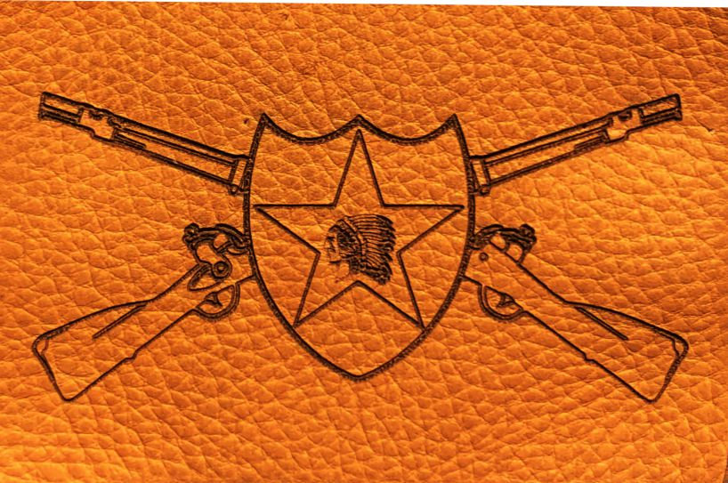 2ID with Infantry Cross Rifles Laser Engraved Leather Patch