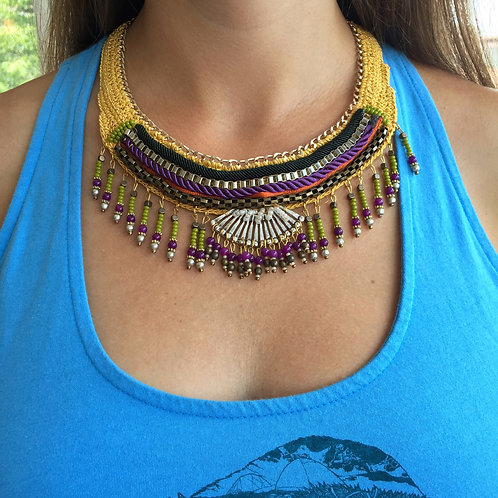 Handmade Wowen Necklace Yellow
