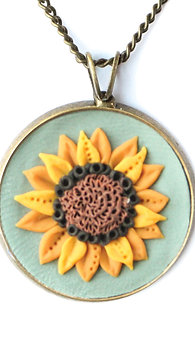Aqua Sunflower Necklace