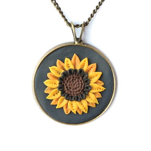 Navy Sunflower Necklace