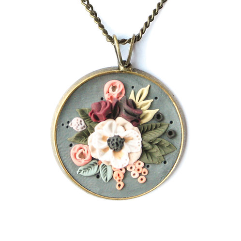 Peony Bouquet Necklace