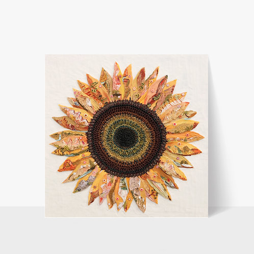 """Little Mountain Sunflower Clayscape 12x12"""" Print"""