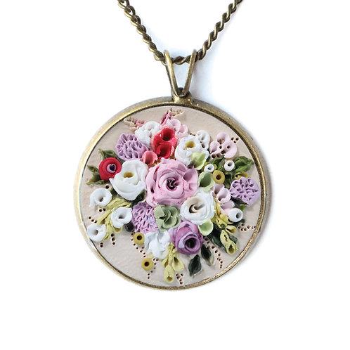 Custom Floral Bouquet Necklace