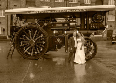 Sepia wedding photo with steam engine