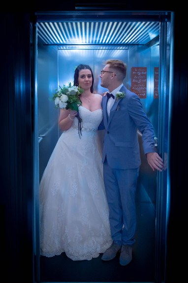 Wedding couple in lift