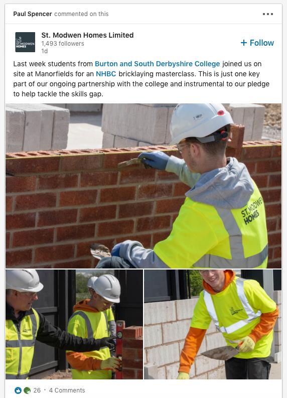 St Modwen Students - Bricklaying Masterclass