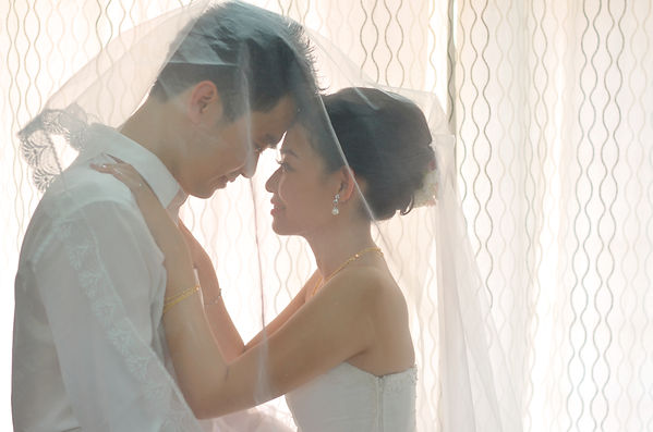 Asian chinese bride and groom on their a
