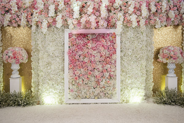 wedding backdrop with flower and wedding