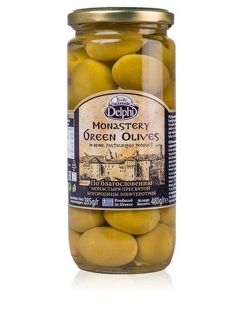 """Оливки с косточкой в рассоле Монастырские """"DELPHI"""", 480г, стекло."""