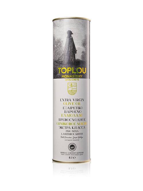 """Масло оливковое E.V.Монастырское SITIA P.D.O. """"TOPLOU"""", 1л, жесть."""