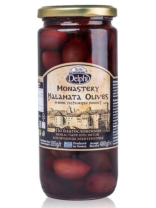 """Маслины Каламата с косточкой в рассоле Монастырские  """"DELPHI"""", 480г, стекло."""