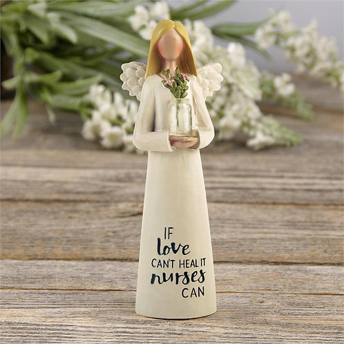 """""""NURSE"""" ANGEL WITH CLEAR VASE AND FLOWERS"""