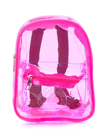 Sugar Life Translucent Mini Backpack - Neon Pink