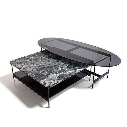 Stainless Steel Coffee Table with Glass/Marble Table Top and TripodLegs