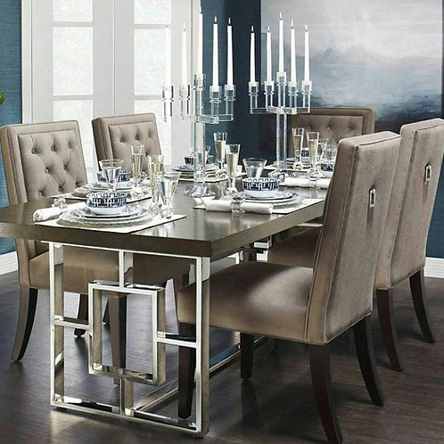 Chrome Stainless Steel Dining Table Set with Elegant Top