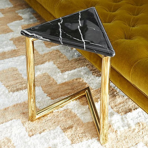 Modern Stainless Steel Side Table with Straight Designer Legs