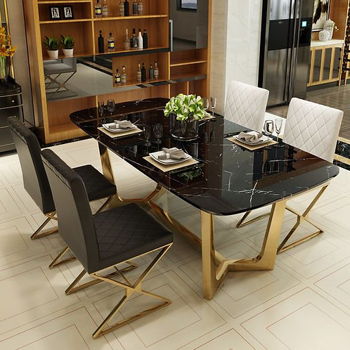 Stainless Steel Dining Table Set with Marble Top