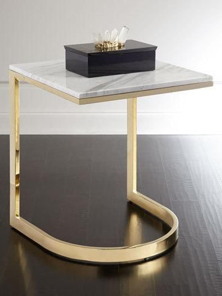 Sleek Stainless Steel Side Table with Simple Round Base