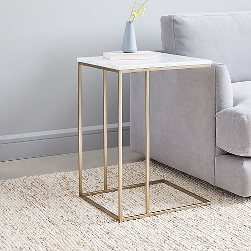 Square Stainless Steel Side Table with Straight Designer Legs
