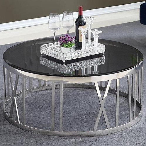 Stainless Steel Center Table with Glass Table Top and Round Designer Legs