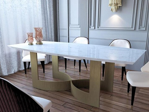 Stainless Steel Dining Table Set with White Marble Top
