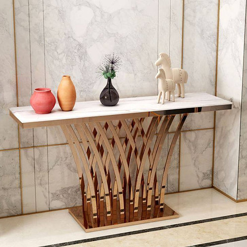 Stainless Steel Console with Marble Top