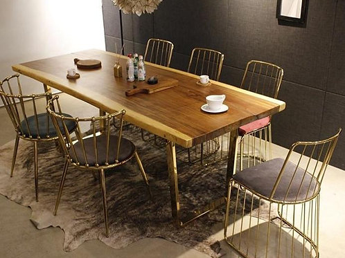 Stainless Steel Dining Table Set with Live Edge Wooden Top