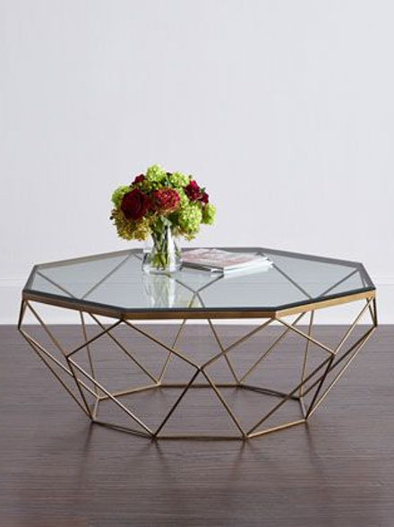 Stainless Steel Center Table with Glass Table Top
