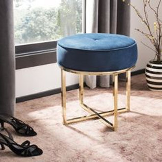 Designer Pouffe with Stainless Steel Base