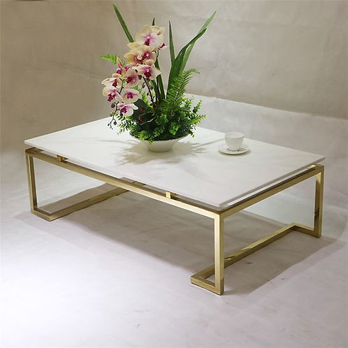 Rectangular Stainless Steel Coffee Table with Glass/Marble Table Top