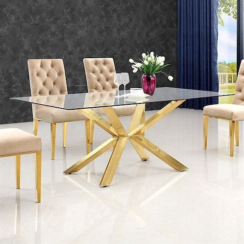Gold Stainless Steel Dining Table Set with Glass Top