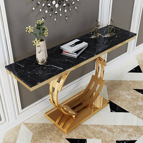Round Stainless Steel Console with Marble  Top