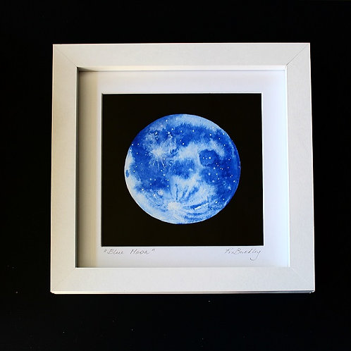 "Original Framed ""Blue Moon"" Mixed media"