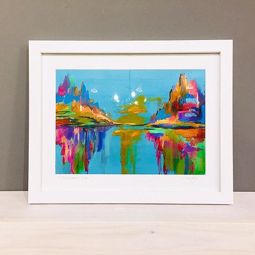 "Original framed ""Caribbean Blue"" acrylics on paper"