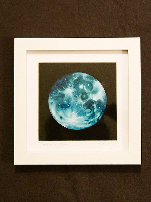 "Original Framed ""Turquoise Moon"" Mixed media"