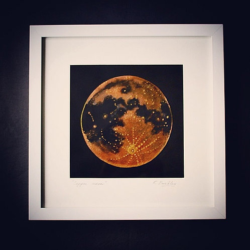 "Original Framed ""Copper Moon"" Mixed media"