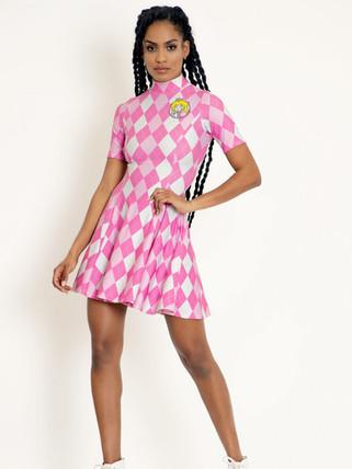 BM Princess Peach Argyle Short Sleeve Evil Mini Skater Dress