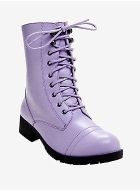 Hot Topic Lilac Combat Boots