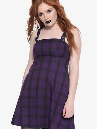 Hot Topic Purple and black tartan dress.