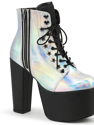 Demonia TORMENT-712 SILVER HOLOGRAM Boots