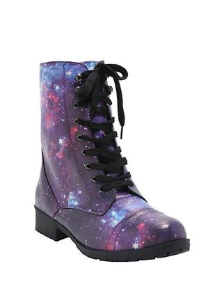 Hot Topic Galaxy Print Combat Boots