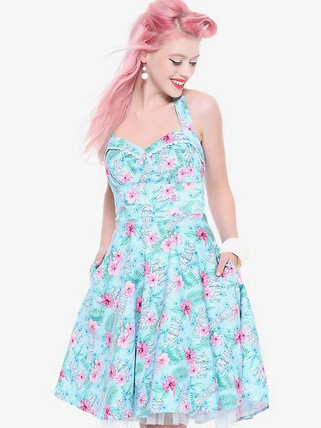 Hot Topic Blue Floral Tiki Swing Dress.J