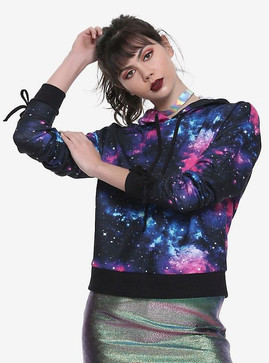 Hot Topic Galaxy Print Runched Tie Sleev