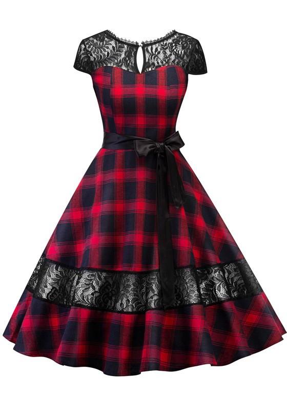 Retro Stage Red Plaid Lace Vintage Dress