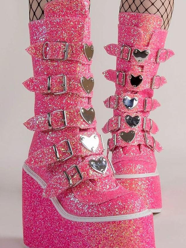 Demonia Swing-203G Pink Multi Glitter Boots