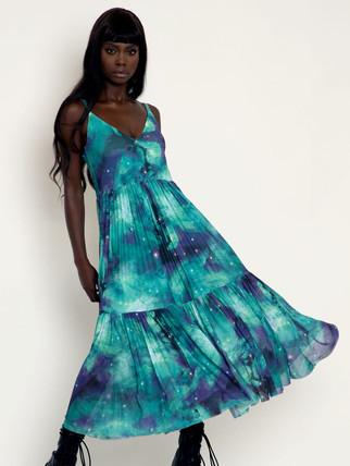BM Galaxy Teal Sheer Midaxi Dress