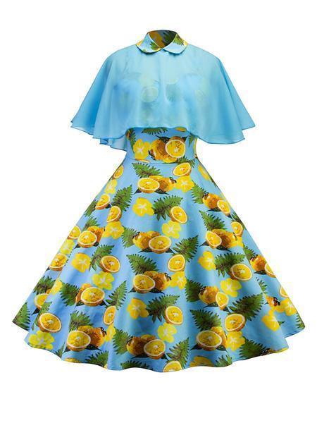 Retro Stage 1950s Cap Lemon Swing Dress.