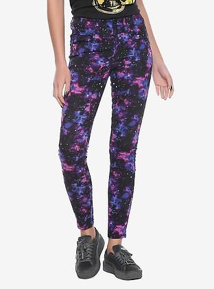 Hot Topic Galaxy Print Super Skinny Jean